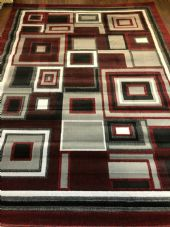 Aproxx 9x7FT 200cmX270cm New Rugs/Mats Woven Blocks Red/Grey/Cream XXL Nice Rug
